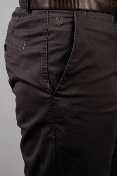 Elephant Grey Chino Twill Lycra Trouser