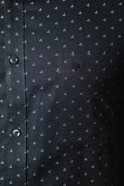 Navy Blue Dobby Print Formal Shirt