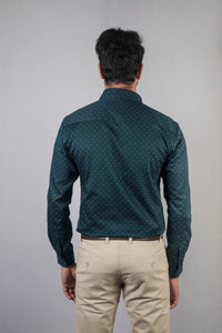 Dark Green Dobby Print Formal Shirt