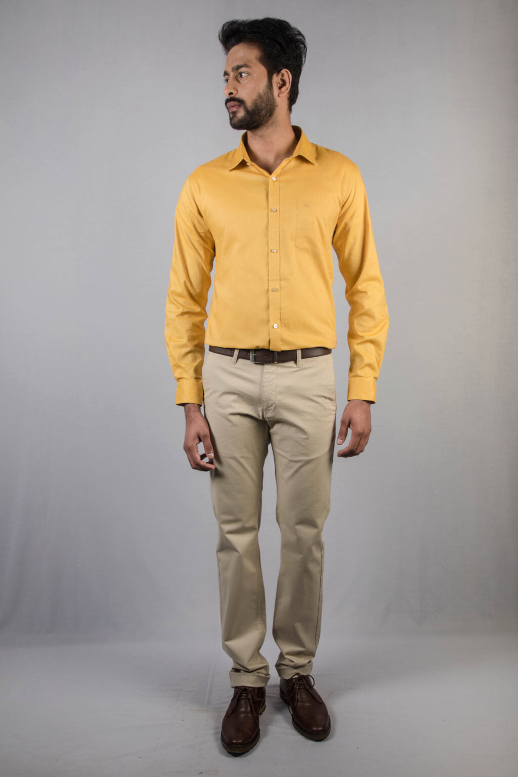 Yellow Giza Chambray Formal Shirt