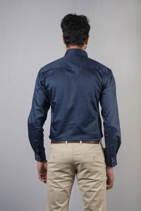 Navy Blue 100% Cotton Satin Formal Shirt