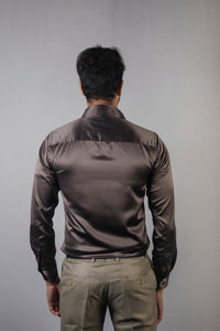 Dark Grey Classic Satin Formal Shirt