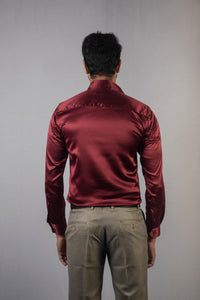 Maroon Classic Satin Formal Shirt