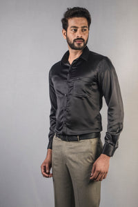 Black Classic Satin Formal Shirt