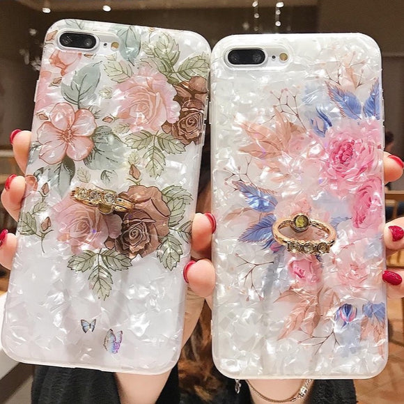 Floral Ring Stand Cell Phone Case For iPhone