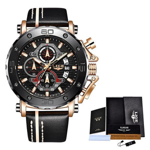Latest Mens Watches Quartz Leather Strap Waterproof
