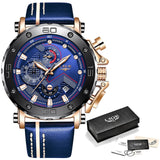 Mens Watches Quartz Waterproof Leather Strap Chronograph