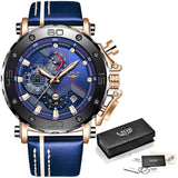 Mens Watches Quartz Waterproof Chronograph Leather Strap