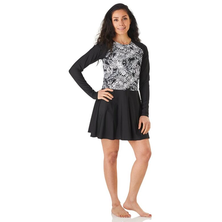 Modest swim dress, above the knee length with a beautiful palm print in black/white with matching black leggings, spf50+
