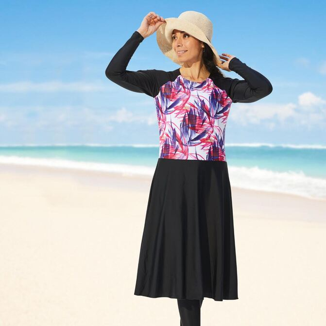 Modest swim dresses, below the knee with beautiful violet  print, spf50+