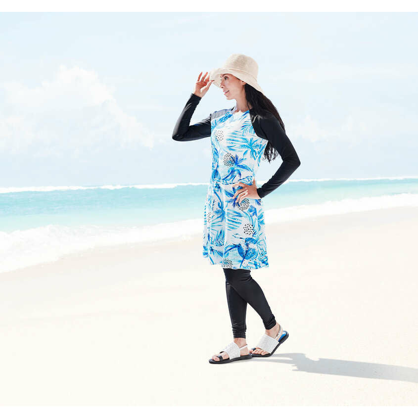 Modest swim dresses, length to the knee with beautiful blue wave print, spf50+