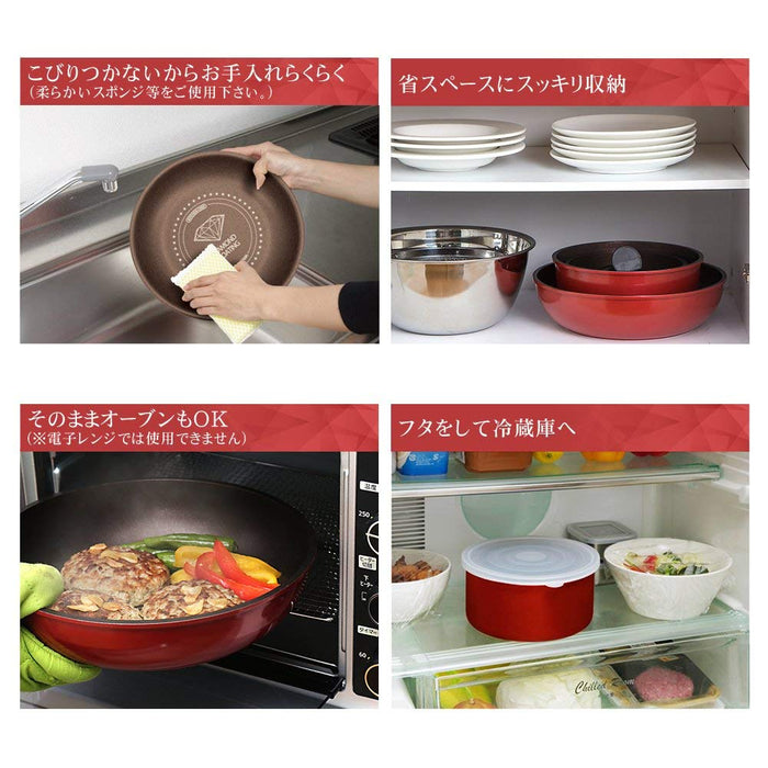 Iris Ohyama IH Diamond Coated Compatible Frying Pan Set with Removable Handle - Red