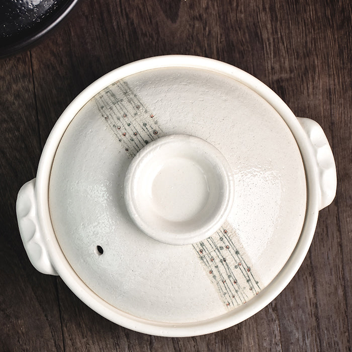 Shiroi Stylish Donabe Japanese Clay Pot 25cm - Made in Japan