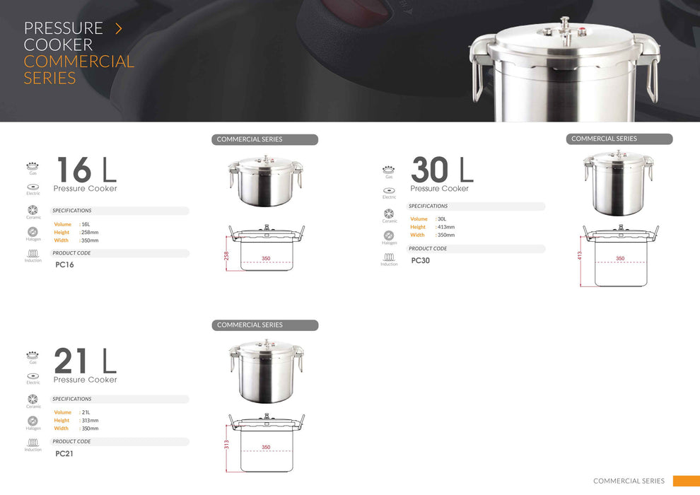 BUFFALO Commercial Pressure Cooker 30L