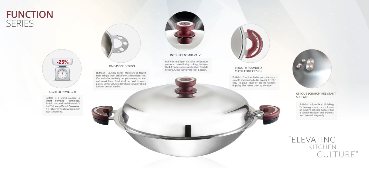 Buffalo Functions Serie 38cm Round Bottom Wok