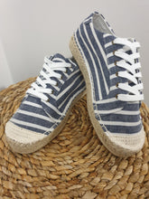 Load image into Gallery viewer, Voyage Espadrille Sneaker - White/Ink Stripe