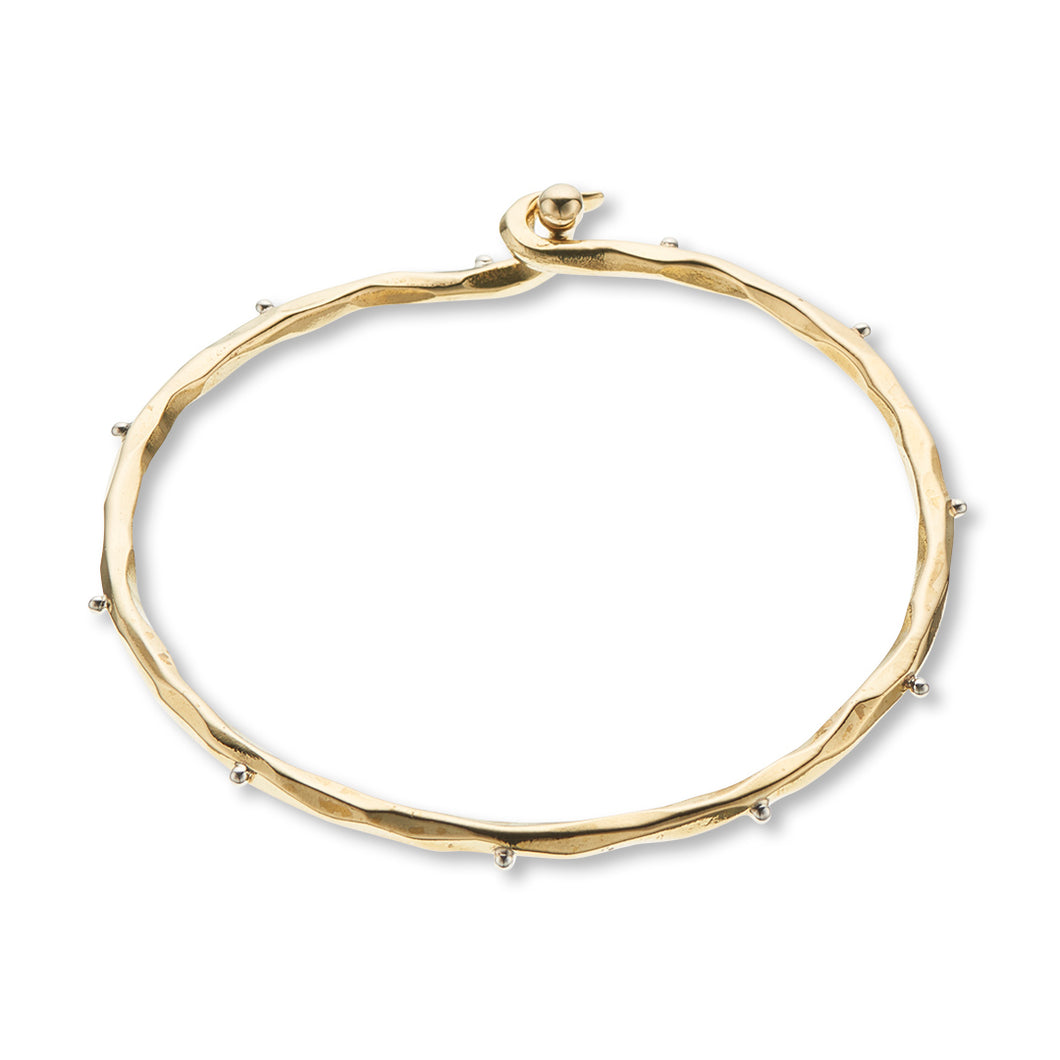 Brass With Silver Dots Opening Bangle
