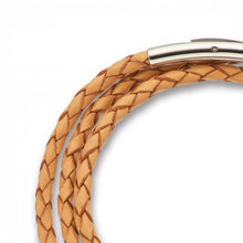 Load image into Gallery viewer, Fine Leather Plaited Wrap Bracelet - Natural