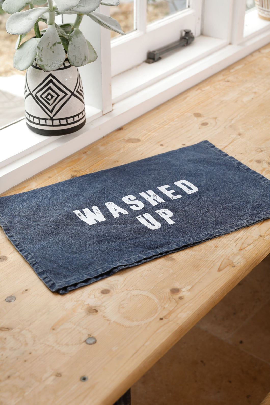 Washed Up Tea Towel - Navy