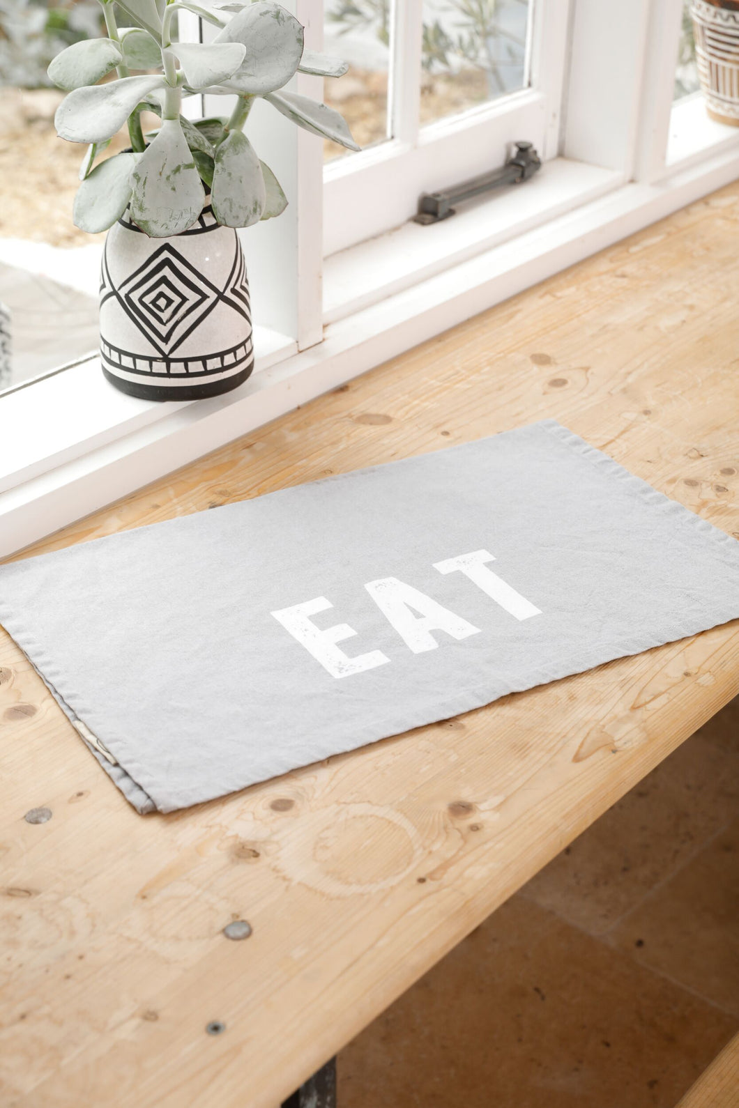 Eat Tea Towel - Grey