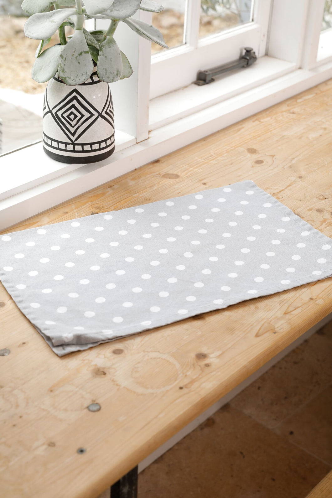 Grey Spotty Tea Towel