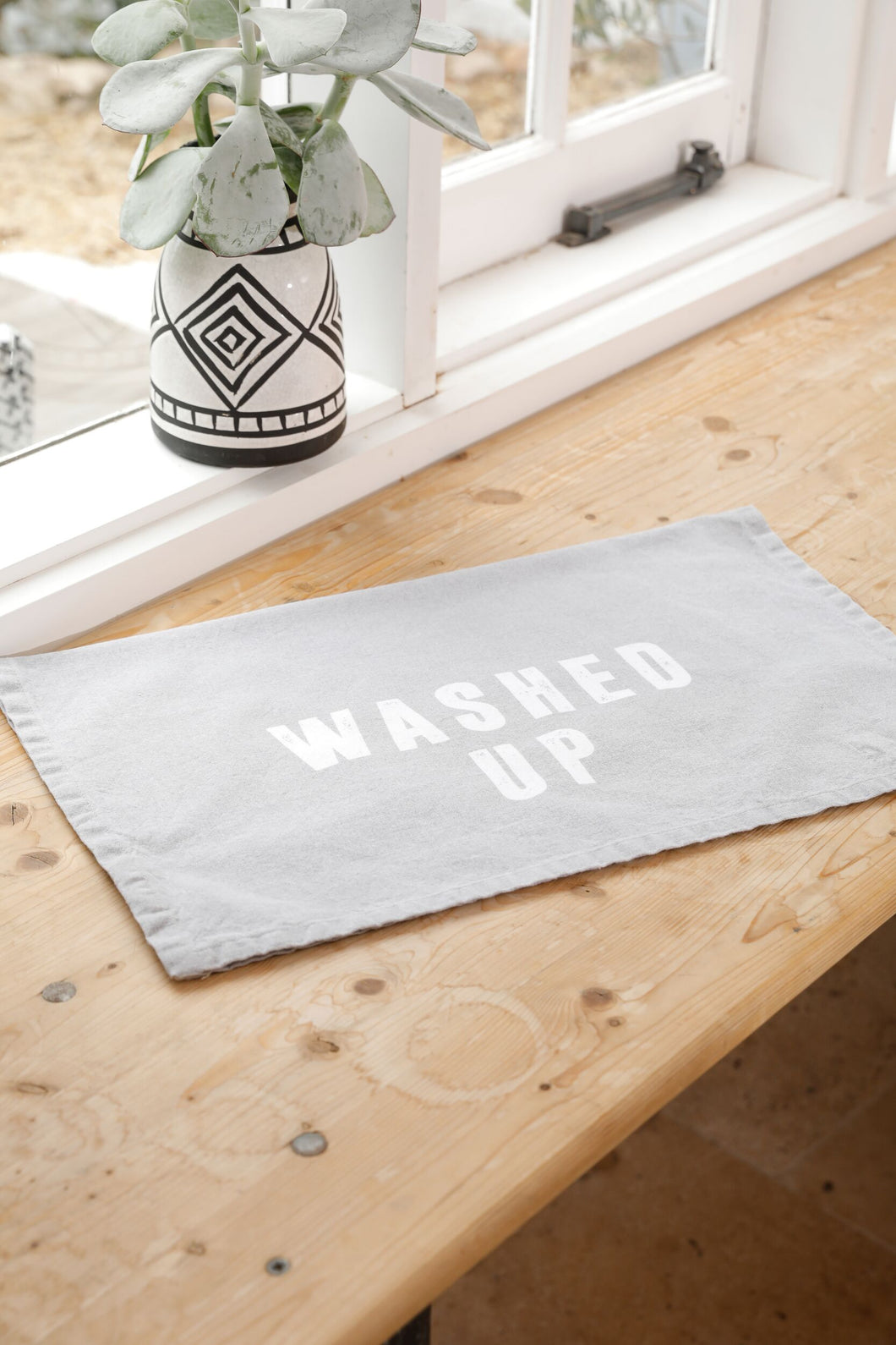Washed Up Tea Towel - Grey