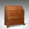 Antique Bureau, Mahogany, English, Georgian, Desk, Secret Compartments, c.1780