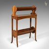 Antique Bookstand, English, Edwardian Mobile Book Shelf, Mahogany