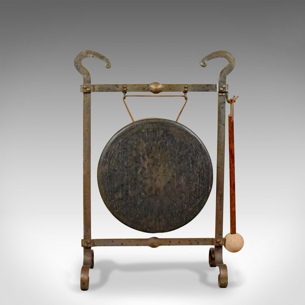 Large Antique Bronze Dinner Gong, Iron Frame, Medieval Styling, Circa 1900 - London Fine Antiques