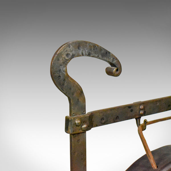 Large Antique Bronze Dinner Gong, Iron Frame, Medieval Styling, Circa 1900