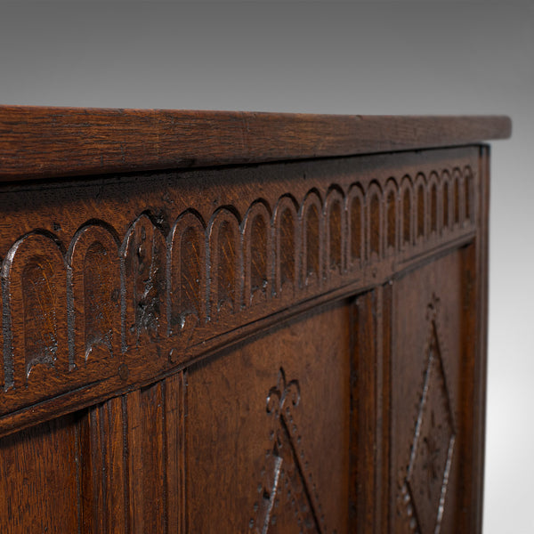 Antique Charles II Coffer, English Oak Plank Chest, 17th Century Trunk, c.1680