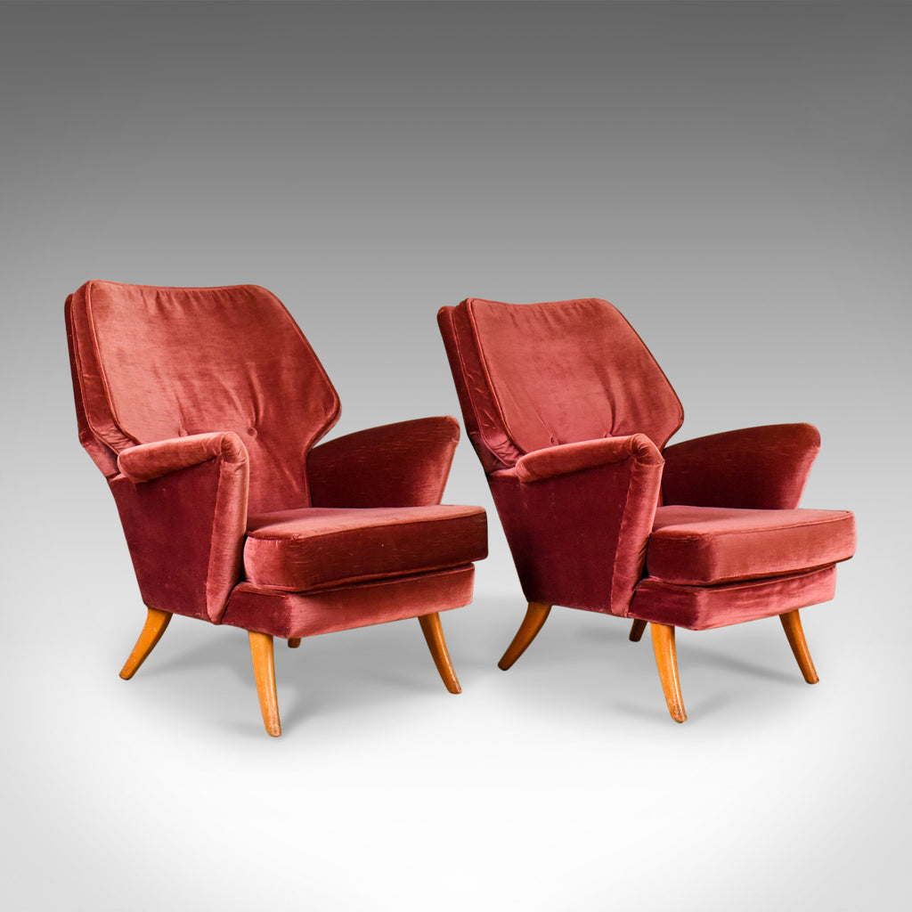 Pair of Mid-Century Armchairs, Vintage Club Designer Easy Chairs, Circa 1950