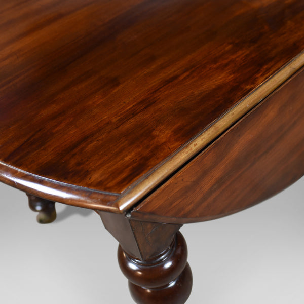 Antique Dining Table, Victorian, Mahogany Drop Flap Four Seater, Circa 1850 - London Fine Antiques