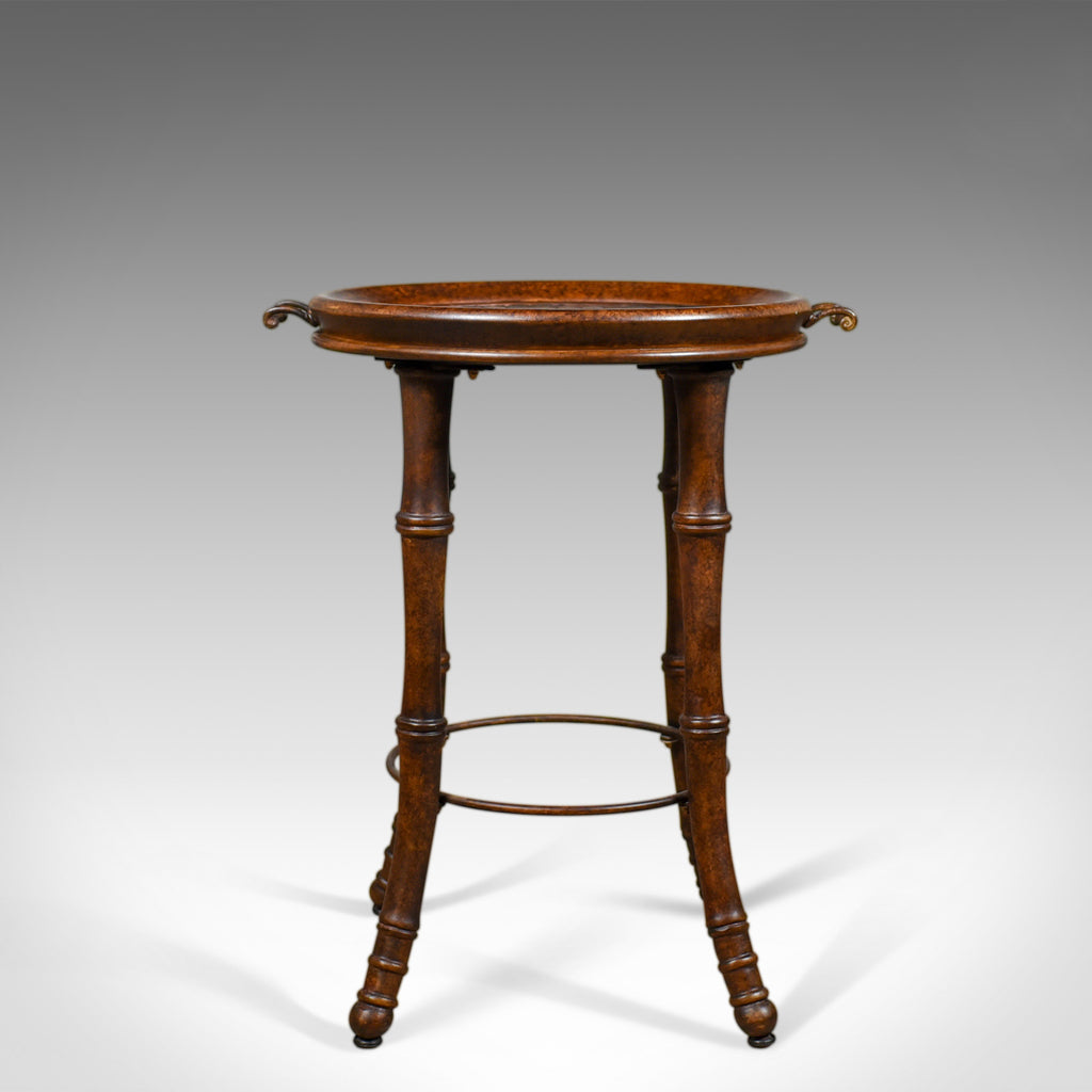 Circular Tray Table, Chinese Faux Bamboo and Walnut, Late 20th Century - London Fine Antiques
