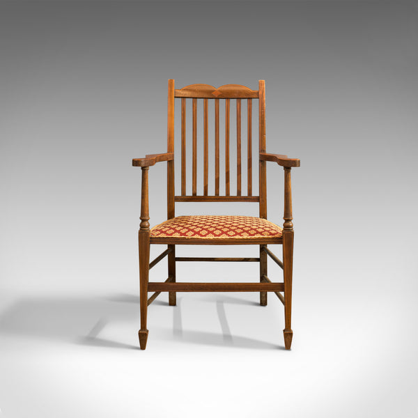 Antique Open Armchair, English, Mahogany, Elbow, Chair, Edwardian - London Fine Antiques