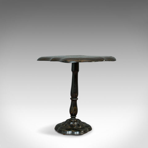 Antique Table, Ebonised, Papier Mache, Mother of Pearl, Side, Lamp, Wine, Tilt - London Fine Antiques