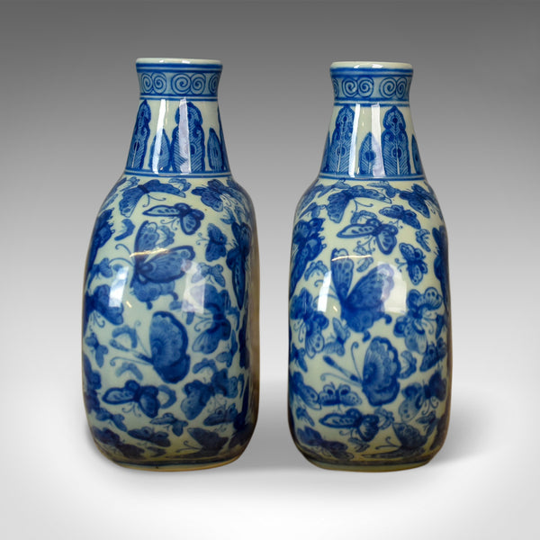 Pair Of Chinese Stem Vases, Circular Bowls, Narrow Necks, Blue & White Butterfly - London Fine Antiques