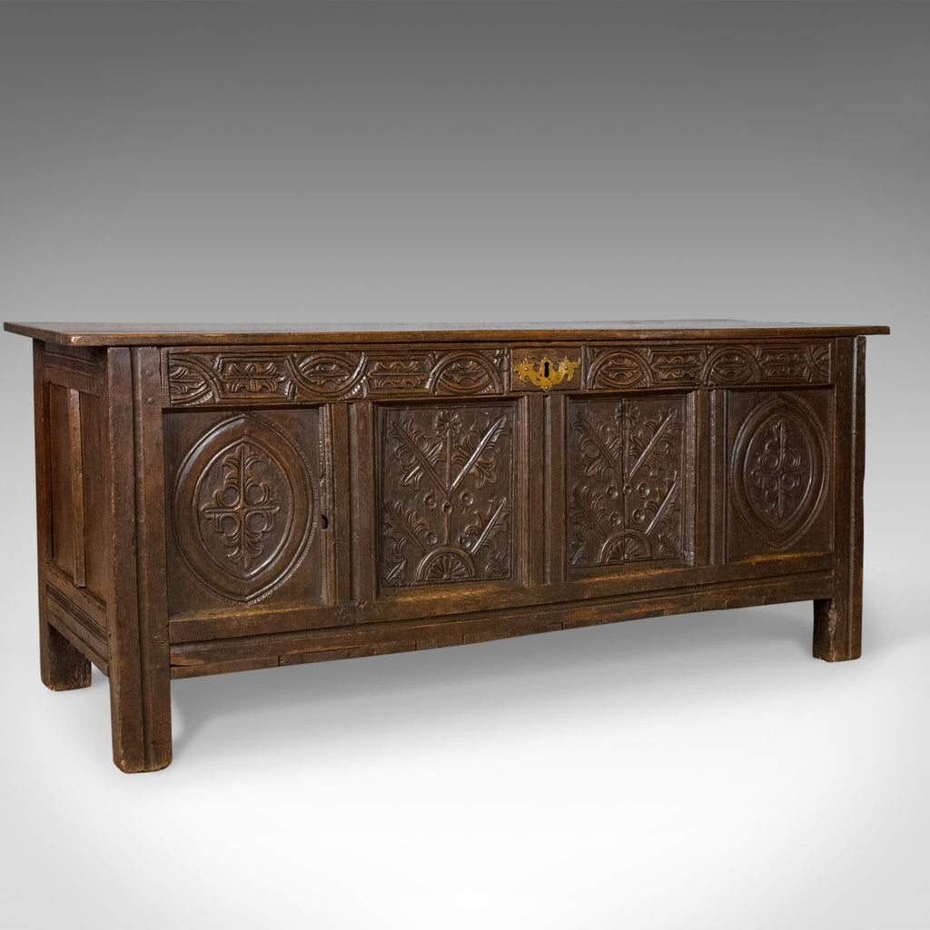 Antique Coffer, English, Oak, Chest, Trunk, Early 18th Century, Circa 1700 - London Fine Antiques