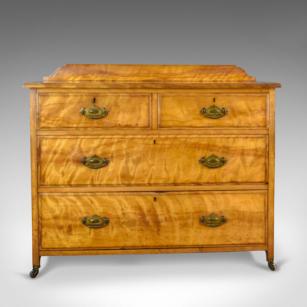 Antique Chest of Drawers, Satinwood, English, Victorian Bedroom Circa 1900 - London Fine Antiques