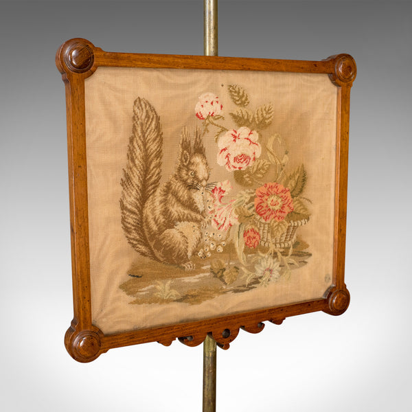 Antique Pole Screen, English, Victorian, Needlepoint, Tapestry Panel Circa 1860 - London Fine Antiques
