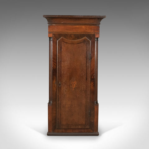 Antique Corner Cabinet, Georgian, Mahogany, Narrow, Hanging Cupboard Circa 1780