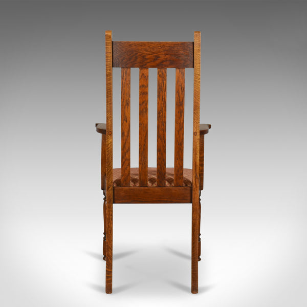 Pair of Antique Armchairs, Arts & Crafts, Liberty-esque, Oak, Carver, Circa 1910