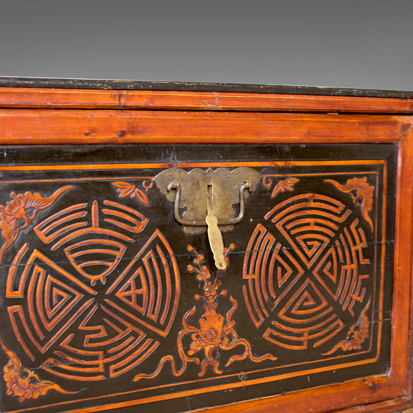 Japanese Antique Chest, Lacquered Pine Trunk, Blanket Box, Late 19th Century