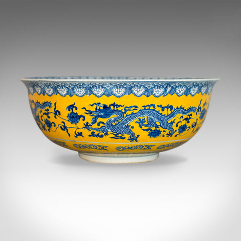 Chinese Porcelain Bowl, Dragons, Blue, White and Yellow, Late 20th Century