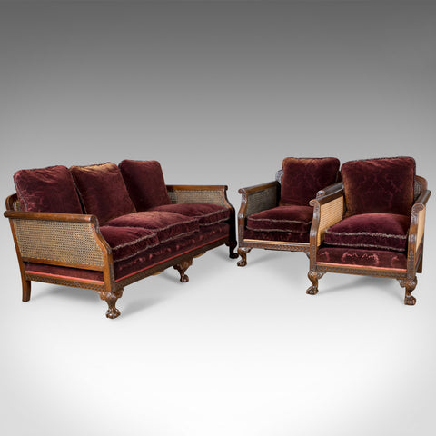 Antique Conservatory Suite, Bergere Sofa & Two Chairs, Edwardian, English c.1910 - London Fine Antiques