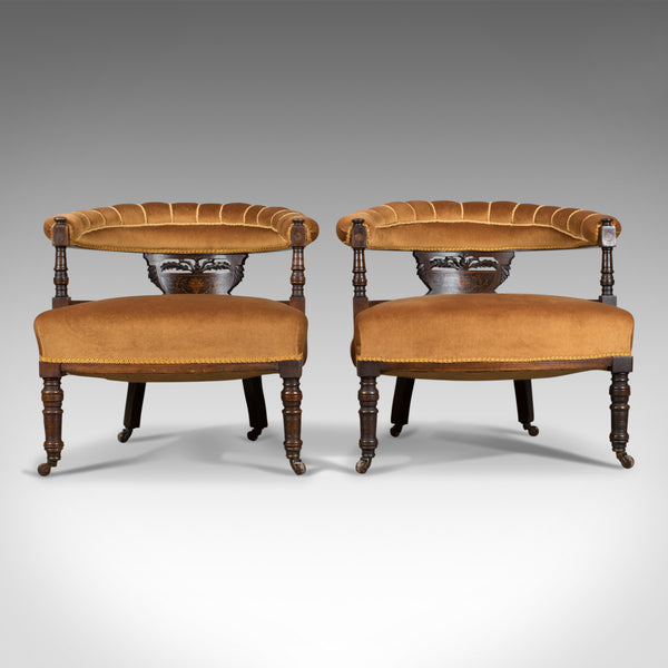 Pair of Antique Salon Chairs, English, Victorian, Bedroom, Armchair, Classical