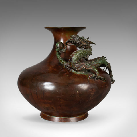 Chinese Urn, Vase, Bronze, Dragon, Pearl, Bowl, C20th, Oriental, Centrepiece