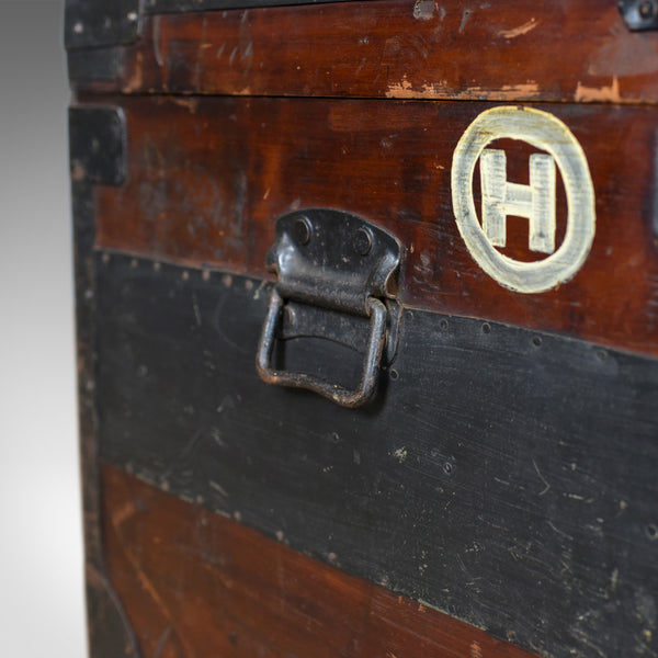 Antique Steamer Trunk, Large, English, Pine, Metal Lined, Chest, Edwardian c1910 - London Fine Antiques