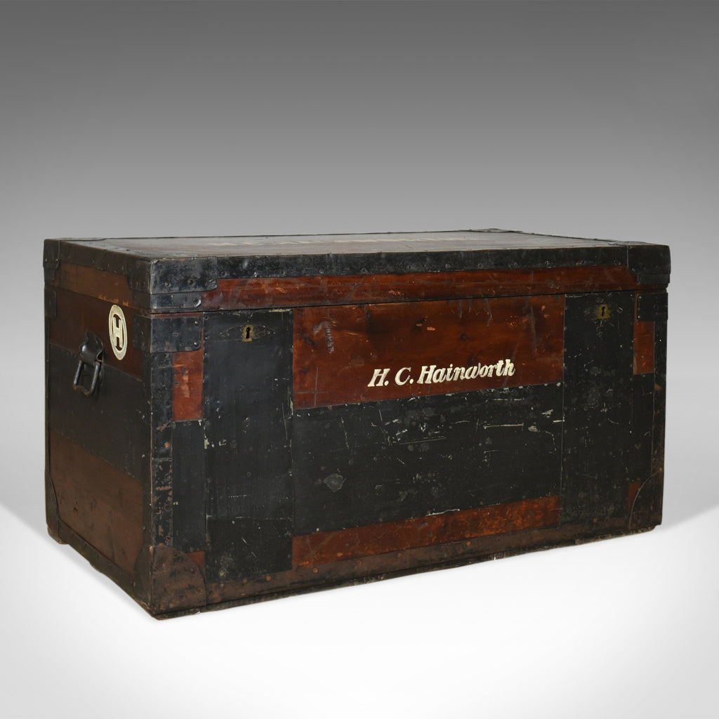 Antique Steamer Trunk, Large, English, Pine, Metal Lined, Chest, Edwardian c1910