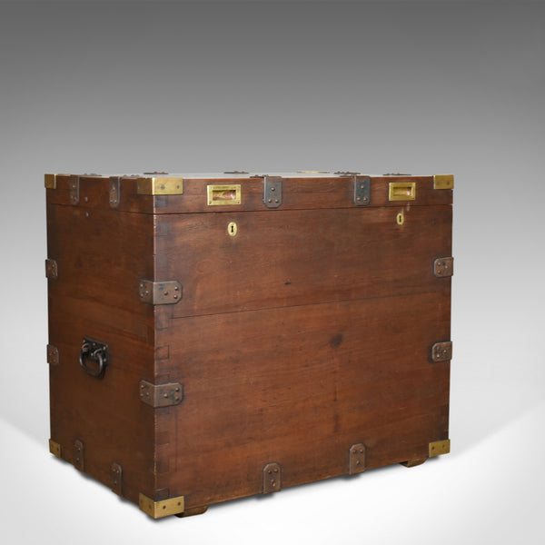 Antique Campaign Silver Chest, English, Oak, Victorian Trunk, Heavy Circa 1852-5 - London Fine Antiques
